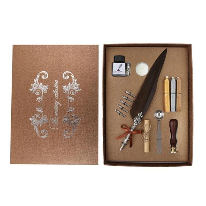 Set de cerneala de scris stilou cu pene, caligrafie vintage, sigilare cu ceara, stampila, birou, tip cadou 6