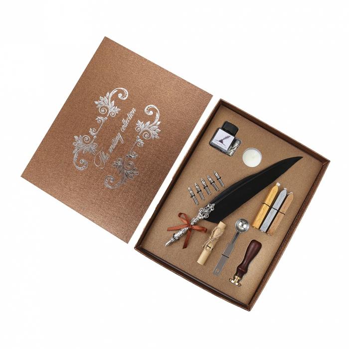 Set de cerneala de scris stilou cu pene, caligrafie vintage, sigilare cu ceara, stampila, birou, tip cadou 1