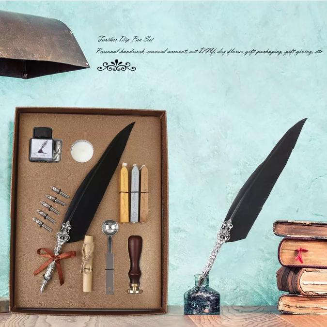 Set de cerneala de scris stilou cu pene, caligrafie vintage, sigilare cu ceara, stampila, birou, tip cadou 4