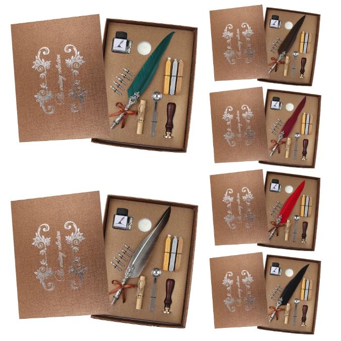 Set de cerneala de scris stilou cu pene, caligrafie vintage, sigilare cu ceara, stampila, birou, tip cadou 7