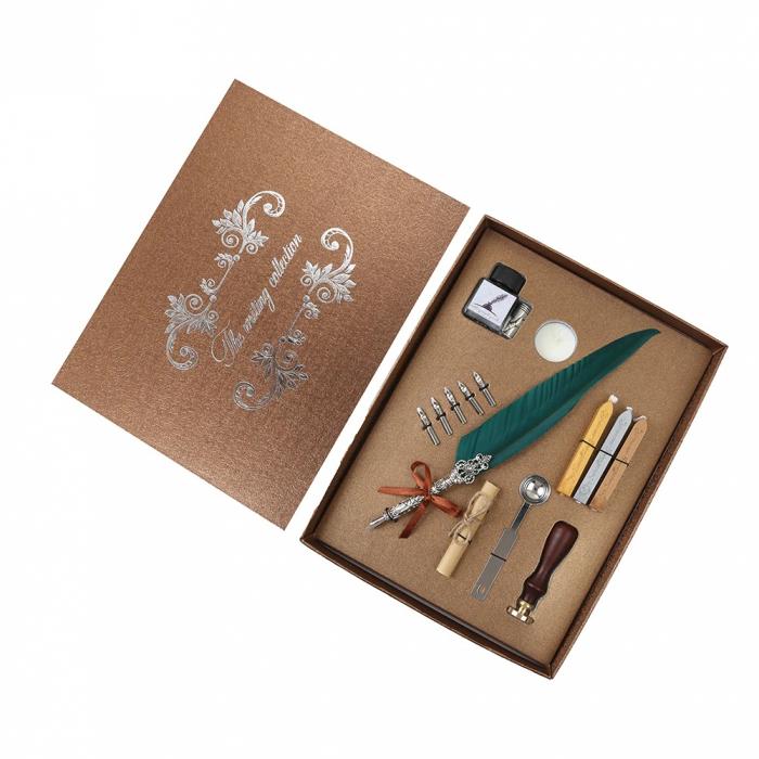 Set de cerneala de scris stilou cu pene, caligrafie vintage, sigilare cu ceara, stampila, birou, tip cadou 2