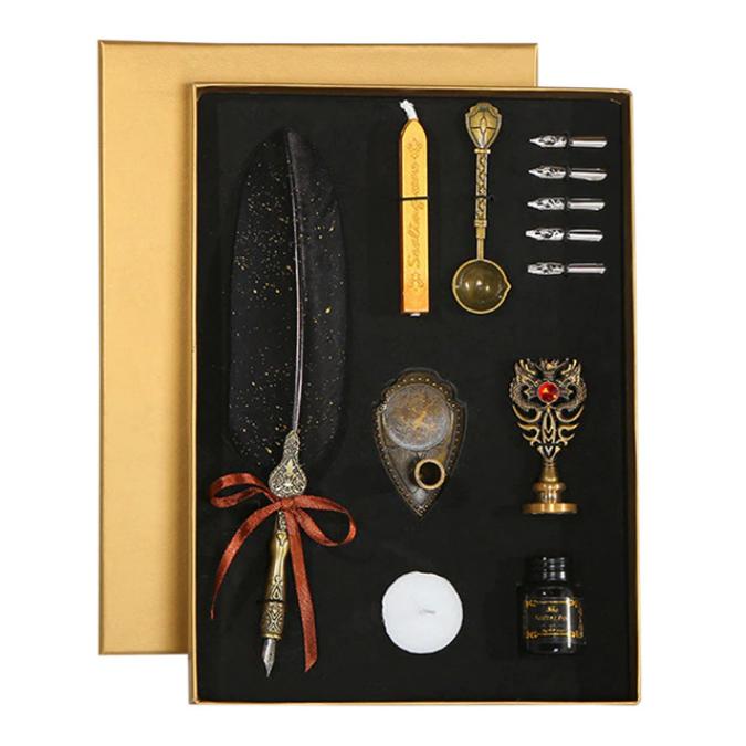 Set de cerneala de scris cu stilou de caligrafie vintage de lux, stilou, calimara, cadou de papetarie, cu 5 pene [3]