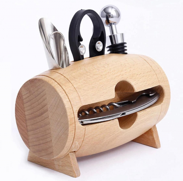 Set 4 piese din oțel inoxidabil de deschidere pentru sticle de vin cu suport tip butoi din lemn 7