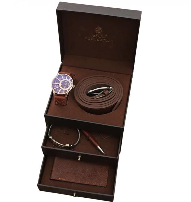 Set 6 piese in cutie pe 3 nivele pentru barbati, ceas, curea de piele, portofel, pix, breloc, bratara [0]