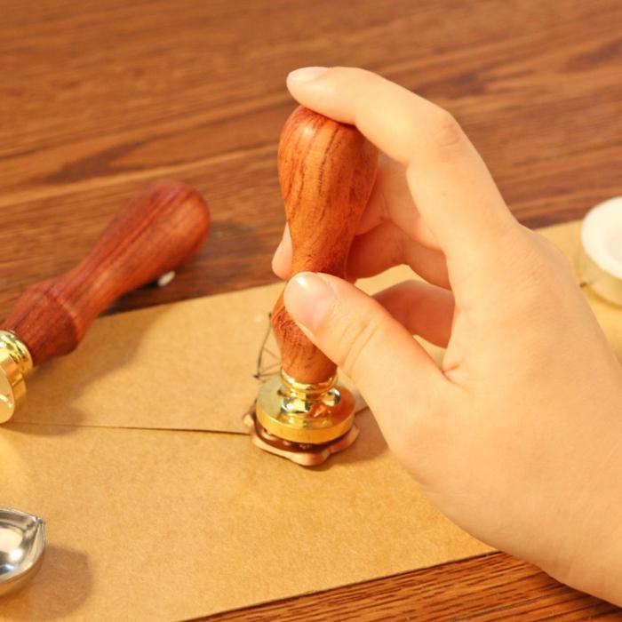 Set Sigiliu de alama, Stampila ceara cu maner lemn - diferite modele [5]