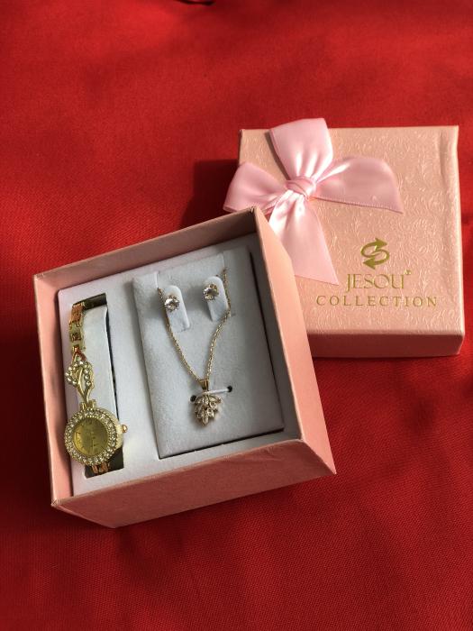 Set simplu 3 buc pentru femei ceas, doi cercei, colier, cutie roz [6]
