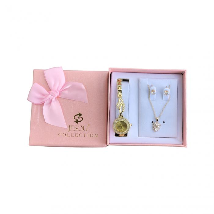 Set simplu 3 buc pentru femei ceas, doi cercei, colier, cutie roz [5]