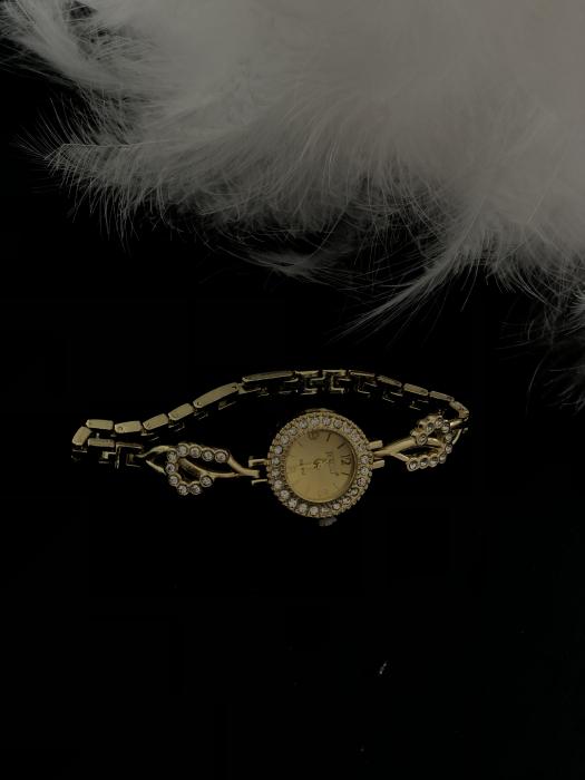 Set simplu 3 buc pentru femei ceas, doi cercei, colier, cutie roz [3]
