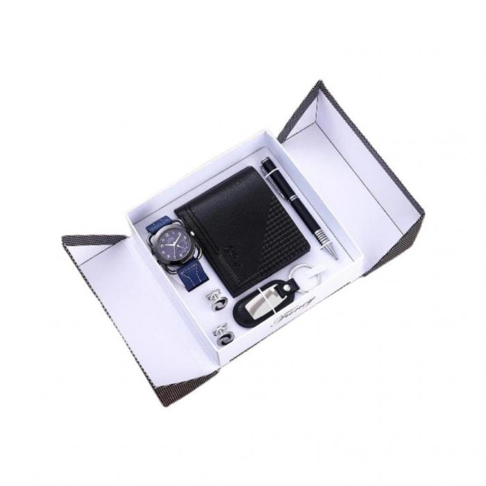 Set pentru barbati 6 buc ceas, portofel, pix, breloc, 2 butoni camasa, culoare negru [0]