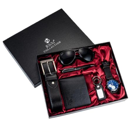 6 buc / set cadou pentru bărbați, ceas, ochelari, breloc, portofel, curea si pix [0]