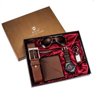 6 buc / set cadou pentru bărbați, ceas, ochelari, breloc, portofel, curea si pix0