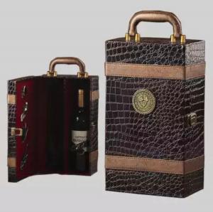 Ambalaj cadou piele de înaltă calitate geantă vin dublă 750ml pentru 2 sticle cu 4 piese1