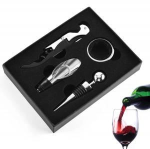 Set 4 buc accesorii pentru deschiderea sticlei de vin din oțel inoxidabil1