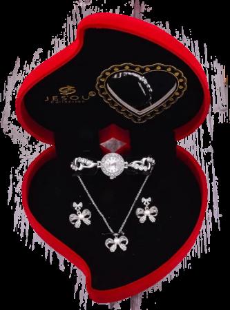 Set pentru femei 3 buc ceas, doi cercei, colier, cutie tip inima rosie [0]