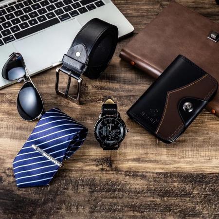 Set cadou pentru barbati 5 buc: ceas, curea de piele, portofel, cravata, ochelari [7]