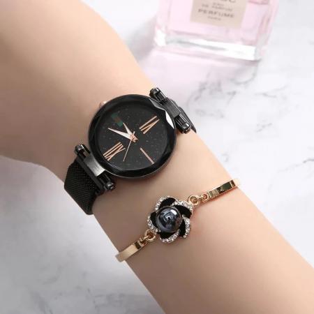 Set 5 buc pentru femei ceas, doi cercei, colier, bratara, culoare negru [4]
