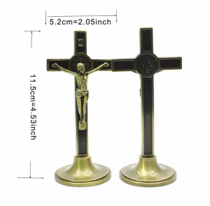 Ornament Iisus Crucifix Hristos Figurina din metal tip cruce2