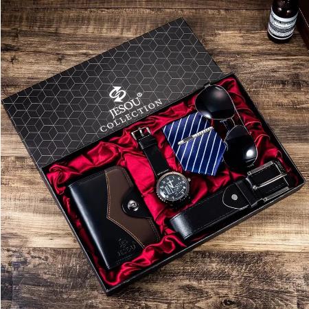 Set cadou pentru barbati 5 buc: ceas, curea de piele, portofel, cravata, ochelari [8]