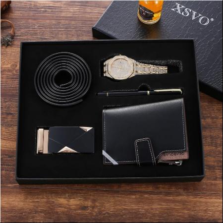 Set cadou pentru barbati 5 buc ceas luxury, curea de piele, catarama, portofel, pix [6]