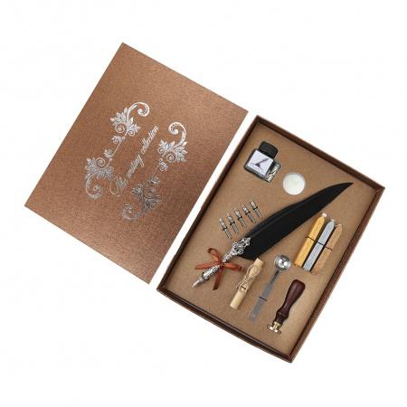 Set de cerneala de scris stilou cu pene, caligrafie vintage, sigilare cu ceara, stampila, birou, tip cadou1