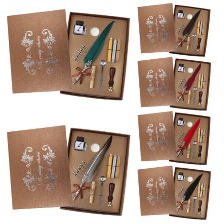 Set de cerneala de scris stilou cu pene, caligrafie vintage, sigilare cu ceara, stampila, birou, tip cadou7