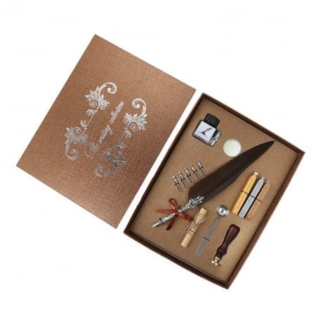 Set de cerneala de scris stilou cu pene, caligrafie vintage, sigilare cu ceara, stampila, birou, tip cadou0