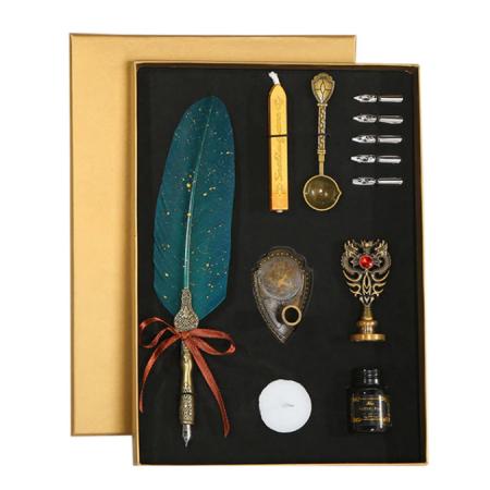 Set de cerneala de scris cu stilou de caligrafie vintage de lux, stilou, calimara, cadou de papetarie, cu 5 pene [1]