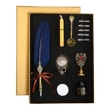 Set de cerneala de scris cu stilou de caligrafie vintage de lux, stilou, calimara, cadou de papetarie, cu 5 pene [2]