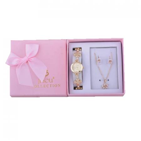 Set simplu 3 buc pentru femei ceas, doi cercei, colier, cutie roz [0]