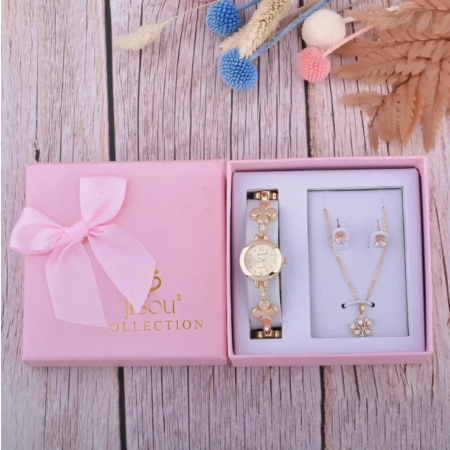 Set simplu 3 buc pentru femei ceas, doi cercei, colier, cutie roz [2]