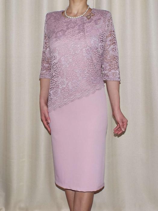 Rochie eleganta din stofa si dantela - Octavia Roz Pudra 0