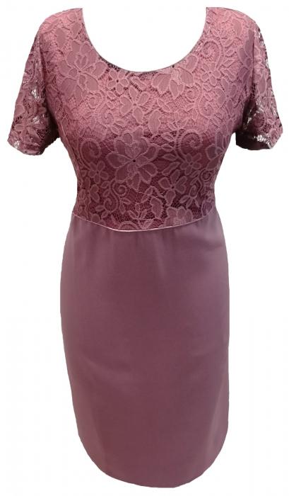 Costum dama elegant din stofa si dantela - Sonia Mov [1]