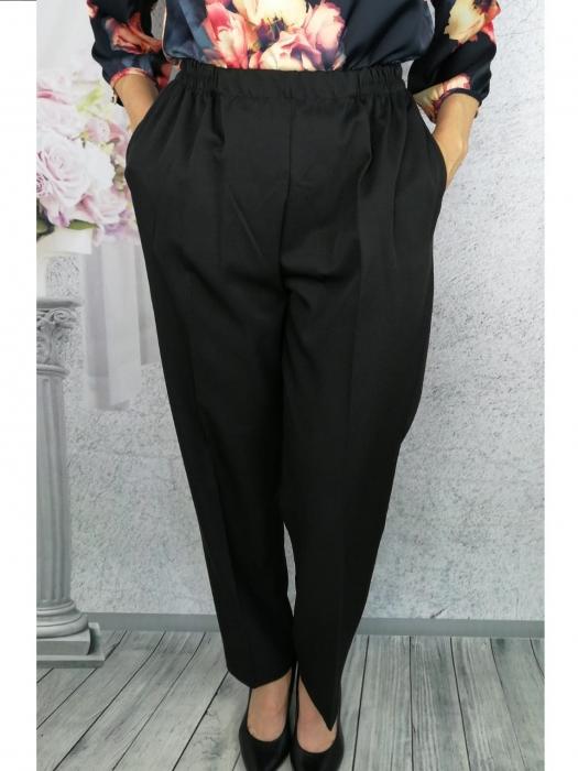 Pantaloni dama negri din stofa cu buzunare  - P020 1