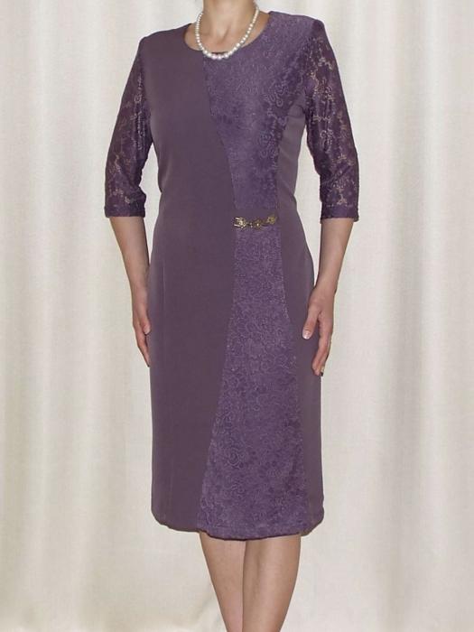 Rochie eleganta din dantela si stofa - Selena Mov 0