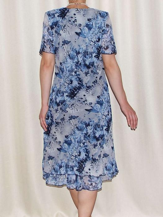 Rochie de vara din voal cu imprimeu floral si brosa - Alexandra 12 [1]