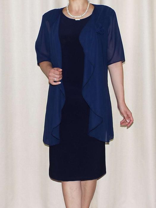 Compleul elegant dama cu maneca scurta - Ama Bleumarin [1]