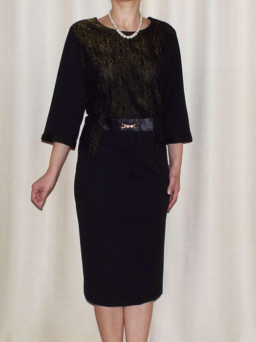 Rochie eleganta cu maneca trei sferturi si accesoriu - Andrada 0