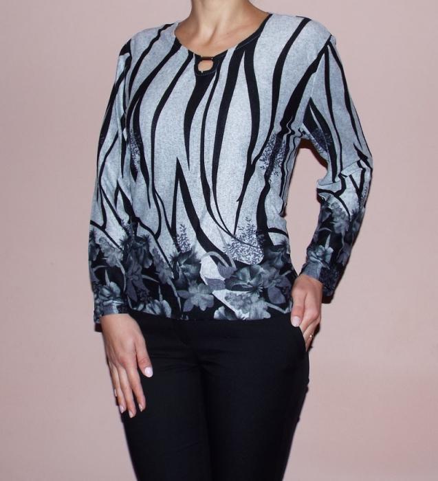 Bluza casual cu imprimeu floral si maneca lunga - Eva Gri 0