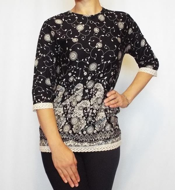 Bluza casual neagra cu imprimeu si maneca trei sferturi- B125 0