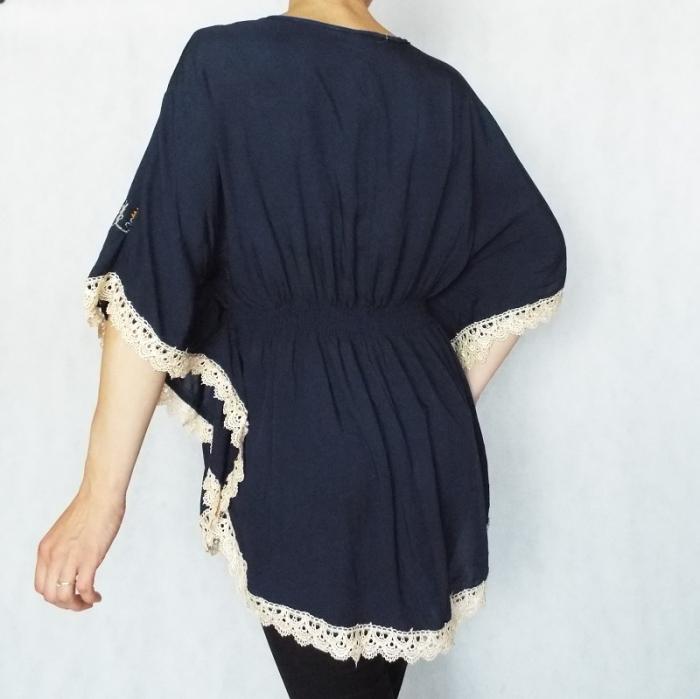 Bluza dama bleumarin cu broderie si croi lejer - Ina 1