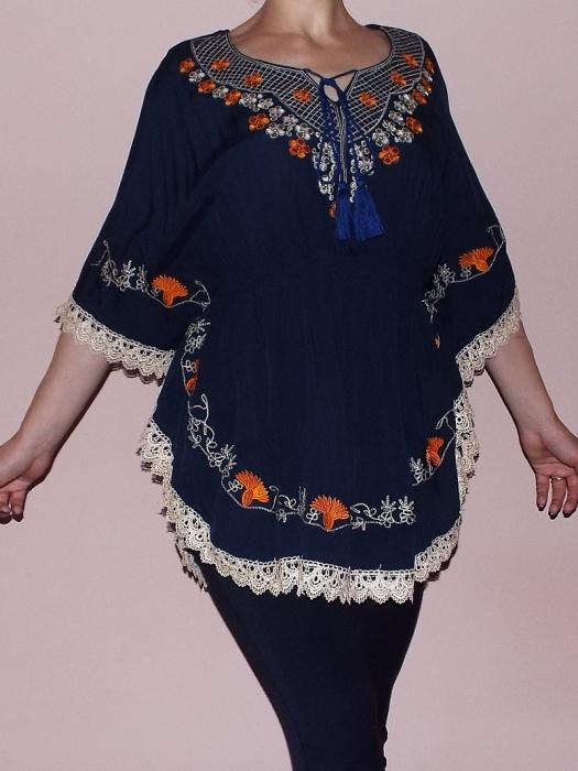 Bluza dama bleumarin cu broderie si croi lejer - Ina 0