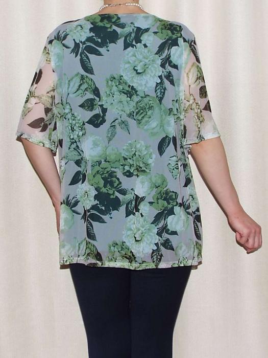 Bluza dama cu imprimeu si maneca scurta - Victoria Verde [1]