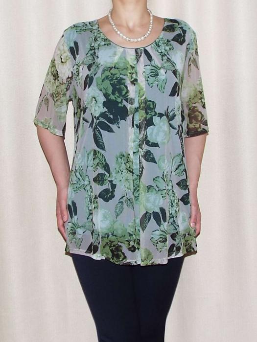 Bluza dama cu imprimeu si maneca scurta - Victoria Verde [0]