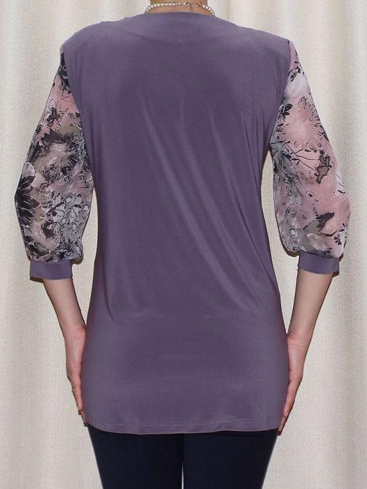 Bluza dama cu imprimeu si maneca trei sferturi - Sofia Mov 1