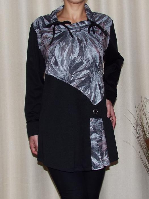 Bluza dama din tricot cu guler si snur - Cora Negru 0