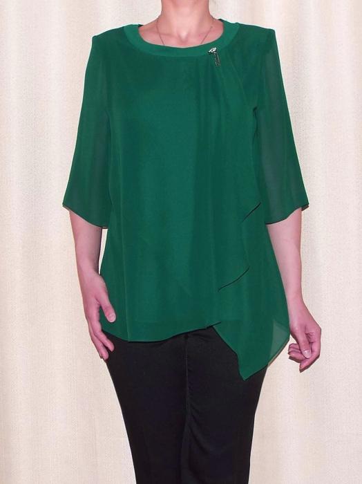 Bluza dama din voal cu brosa detasabila - Marina Verde [0]