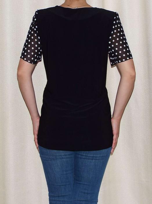 Bluza dama din voal cu buline si vascoza - Virginia Negru [1]