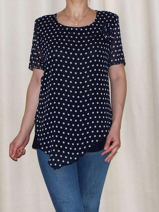 Bluza dama din voal si vascoza cu accesoriu - Virginia Bleumarin [0]