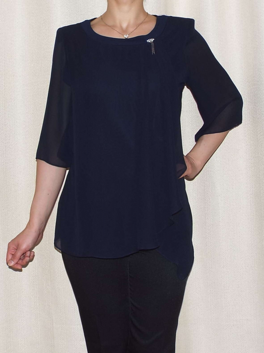 Bluza dama eleganta din voal cu croi asimetric- Marina Bleumarin 0