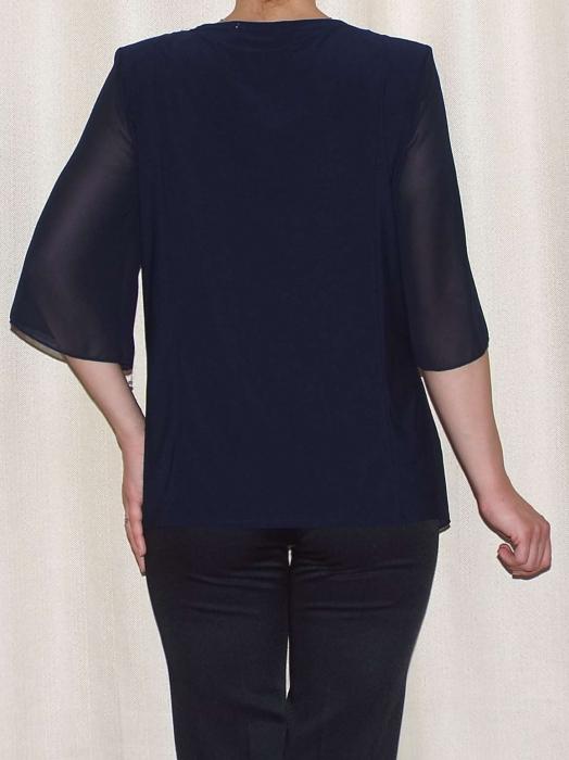 Bluza dama eleganta din voal cu croi asimetric- Marina Bleumarin 1